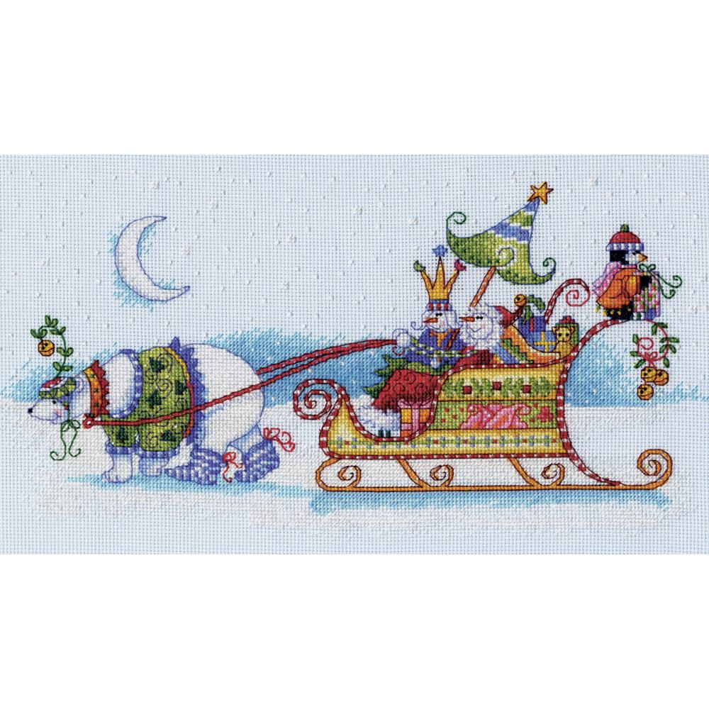 Snow Bear & Sleigh Counted Cross Stitch Kit