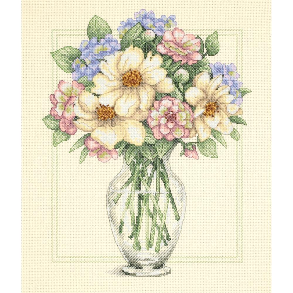 Flowers In Tall Vase Counted Cross Stitch Kit