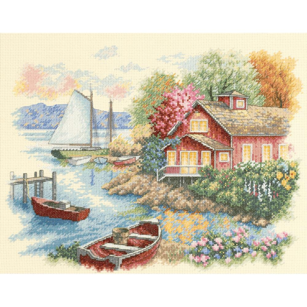 Peaceful Lake House Counted Cross Stitch Kit