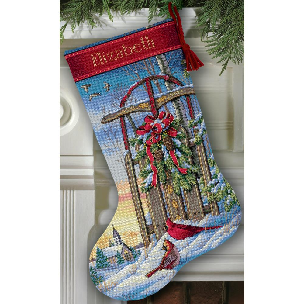 Gold Collection Christmas Sled Stocking Counted Cross Stitch