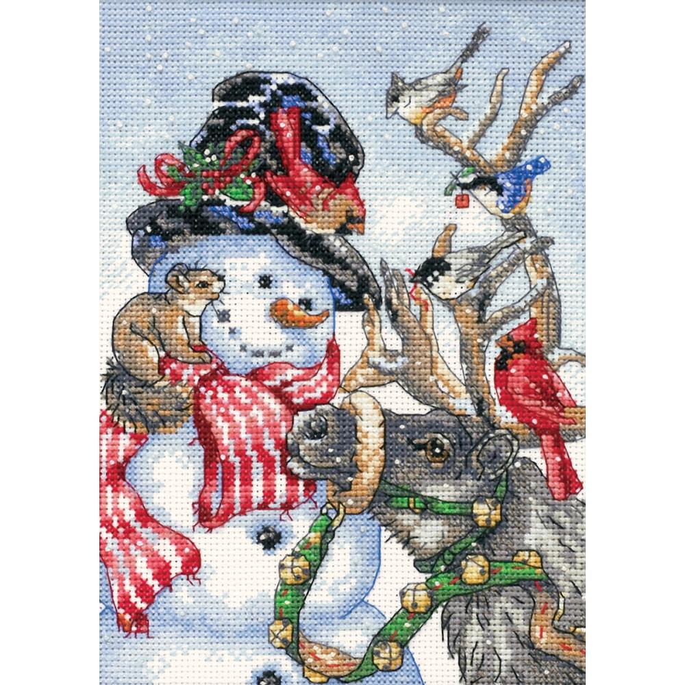 Gold Petites Snowman & Reindeer Counted Cross Stitch Kit