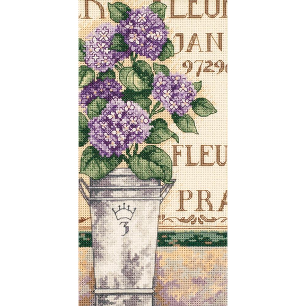 Gold Petites Hydrangea Floral Counted Cross Stitch Kit
