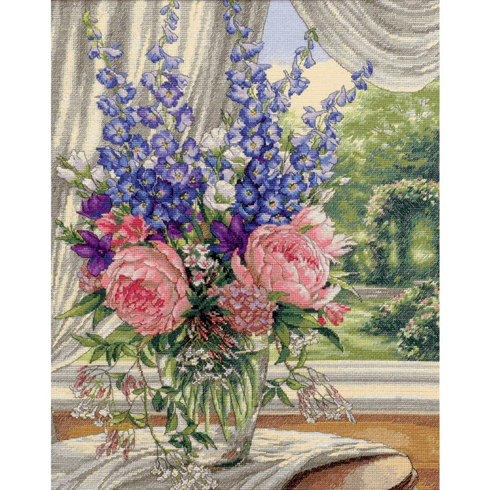 Gold Collection Peonies/Delphiniums Counted Cross Stitch Kit