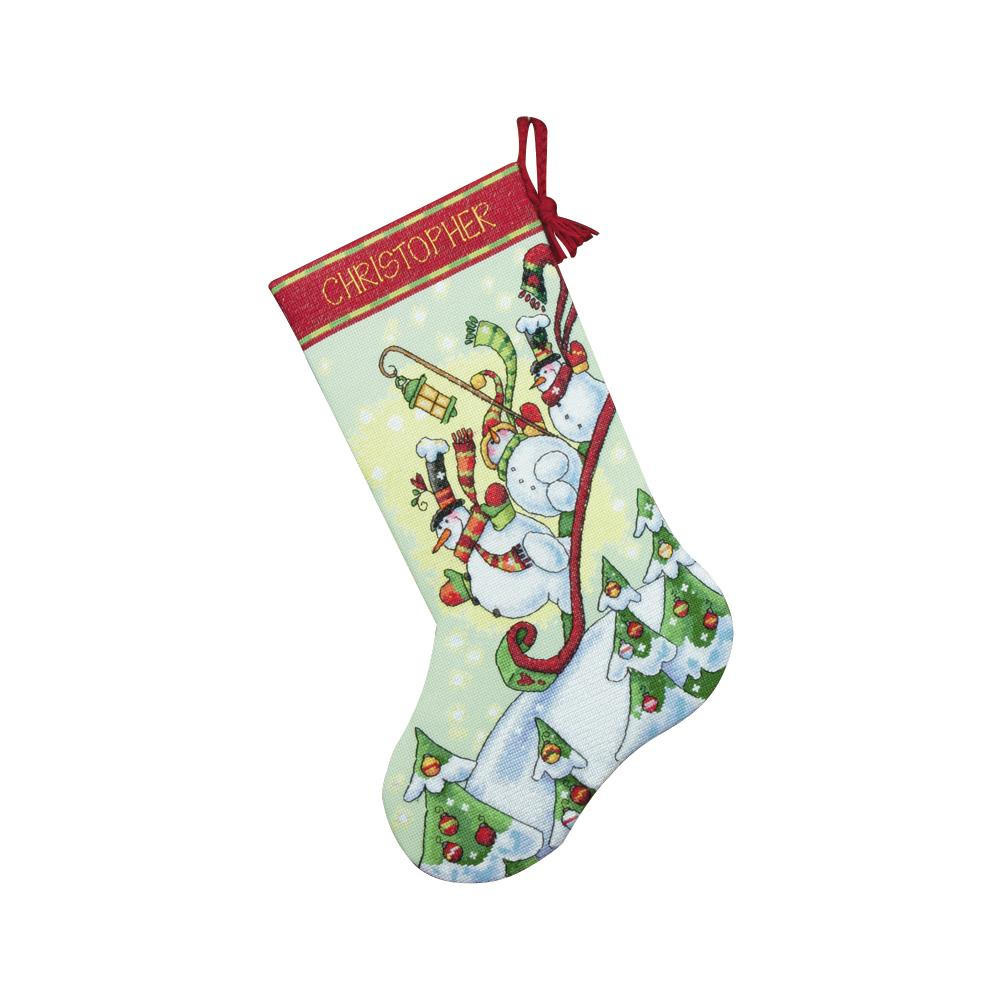Stocking Sledding Snowmen Counted Cross Stitch Kit