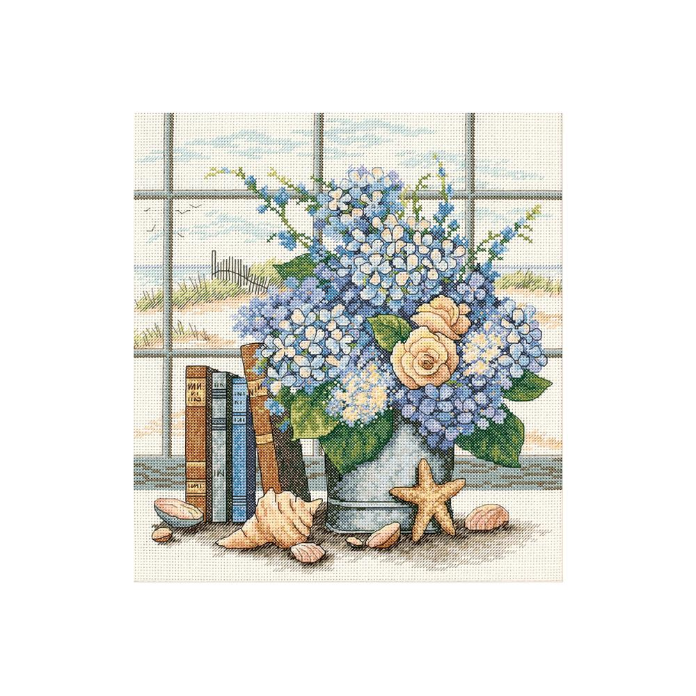 Hydrangeas & Shells Counted Cross Stitch Kit