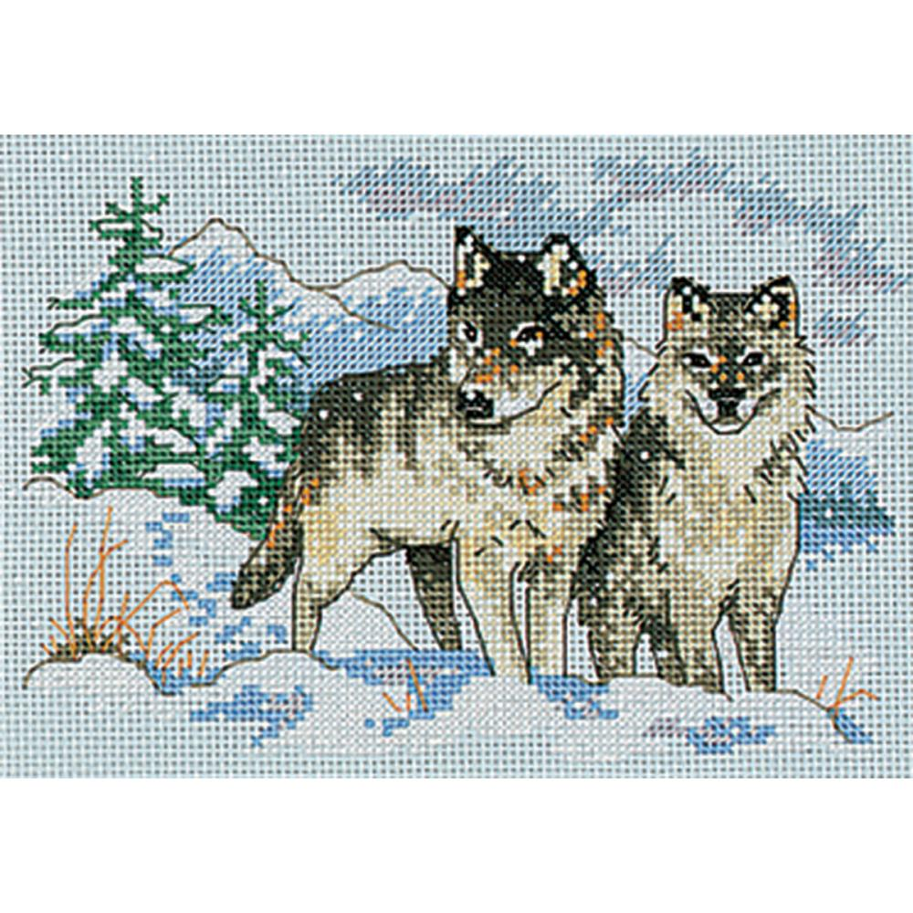 Mini A Pair Of Wolves Counted Cross Stitch Kit