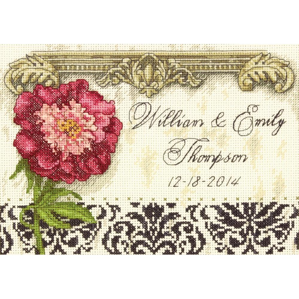 Gold Petites Elegant Wedding Record Counted Cross Stitch Kit