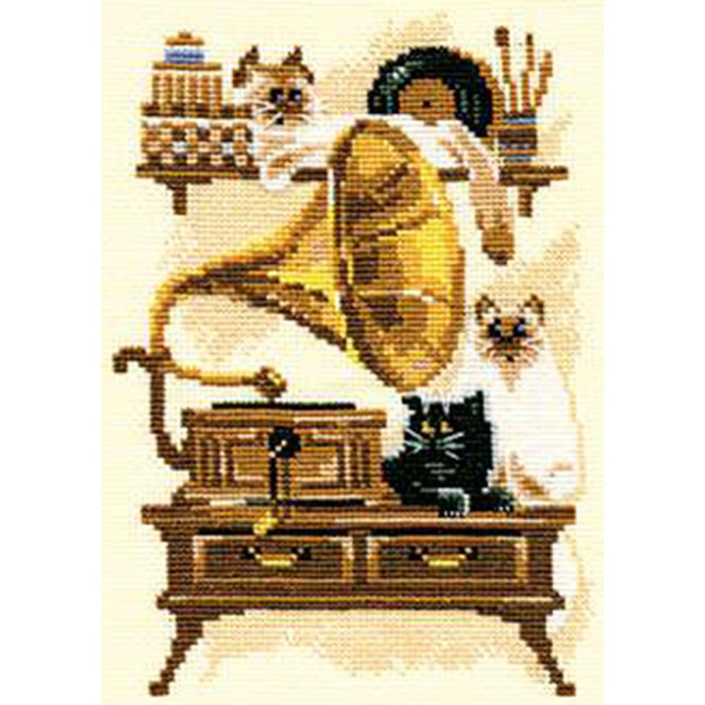 Cat With Gramophone (15 Count)