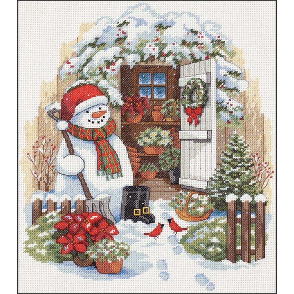Garden Shed Snowman Counted Cross Stitch Kit