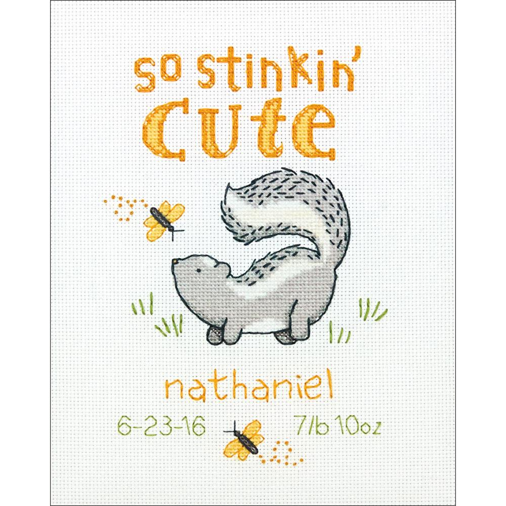 Stinkin' Cute Birth Record Counted Cross Stitch Kit