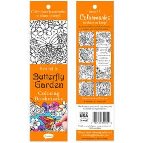 Butterfly Garden Coloring Bookmarks