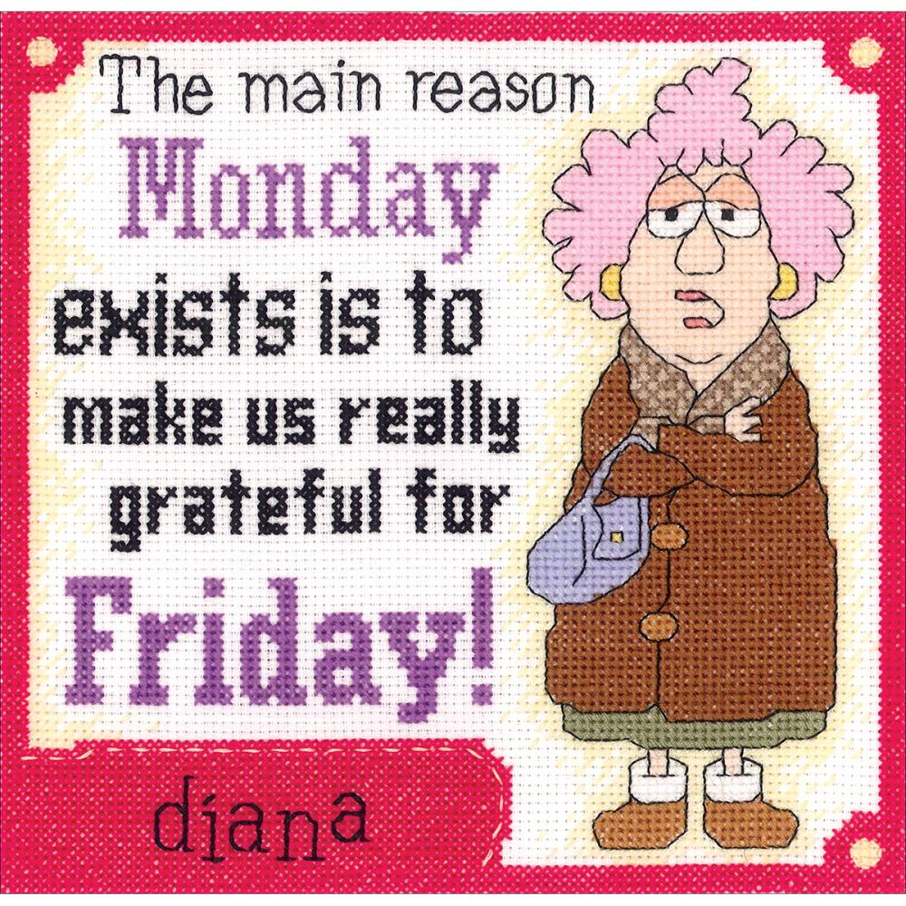 Aunty Acid Grateful For Friday Counted Cross Stitch Kit