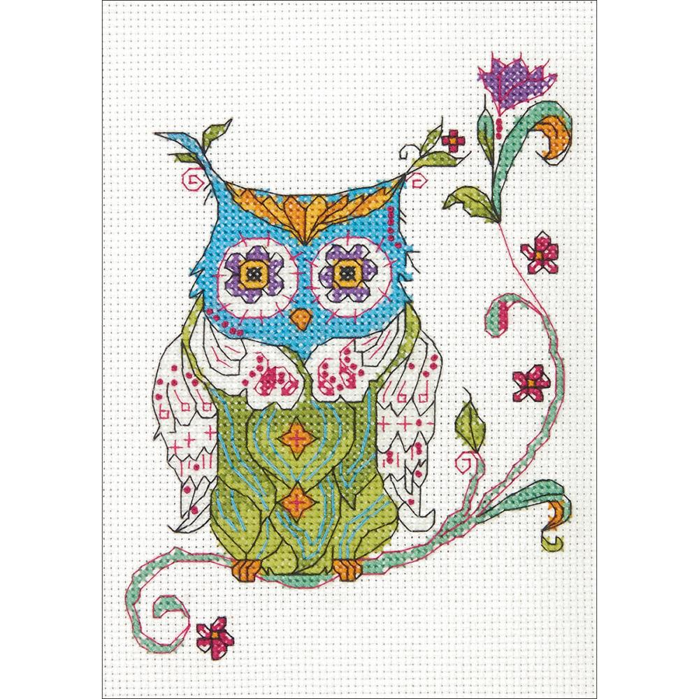 Mini Blooming Owl Counted Cross Stitch Kit