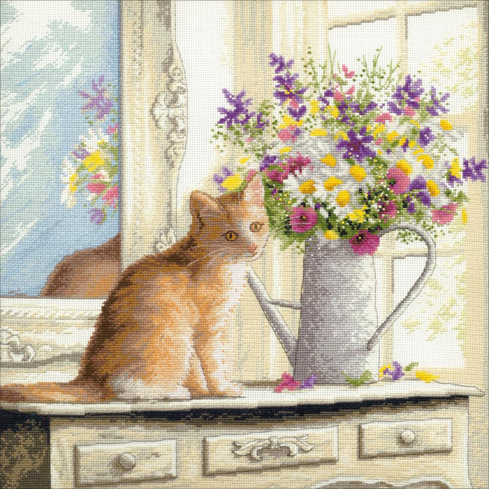 Gold Collection Kitten in the Window Counted Cross Stitch Kit