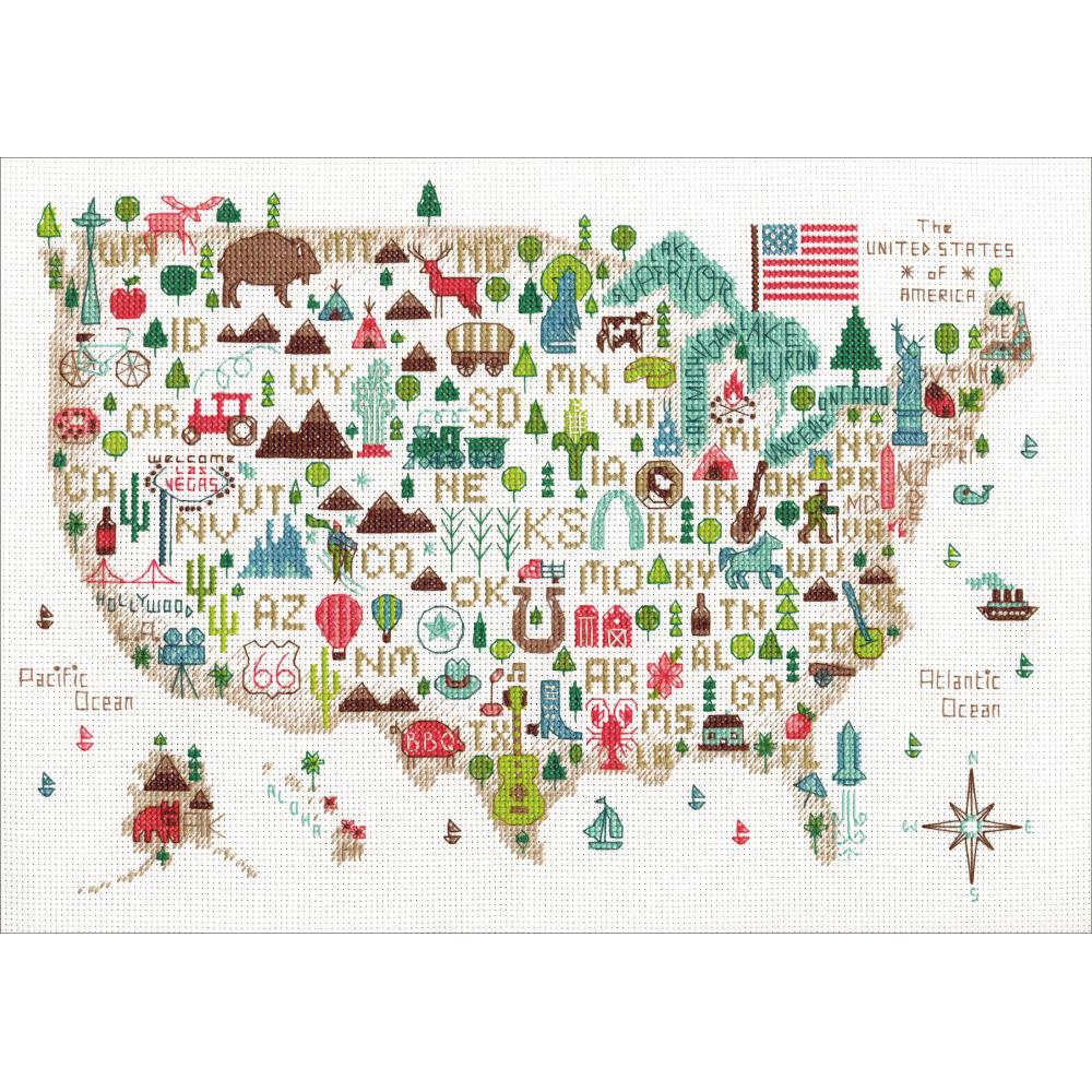 Illustrated USA Counted Cross Stitch Kit