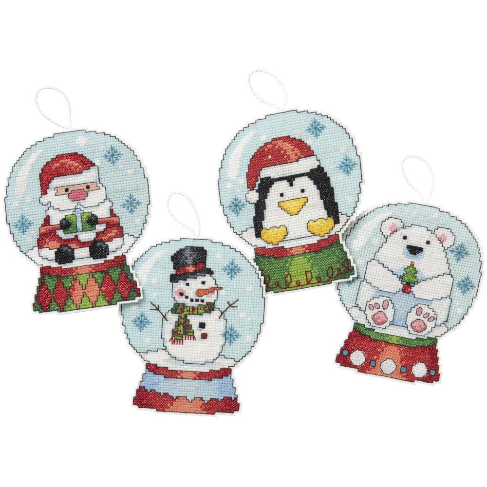 Hallmark Snow Globes Counted Cross Stitch Ornaments Kit
