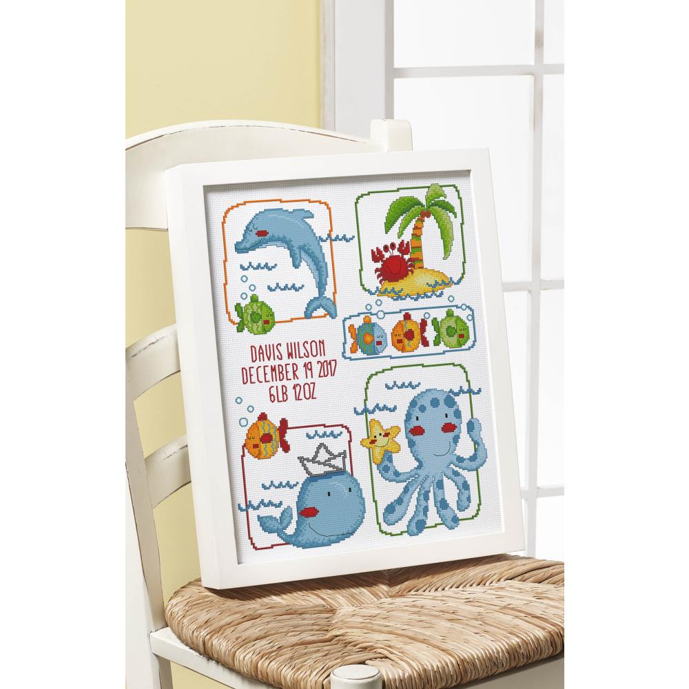 Sea Life Birth Record Counted Cross Stitch Kit
