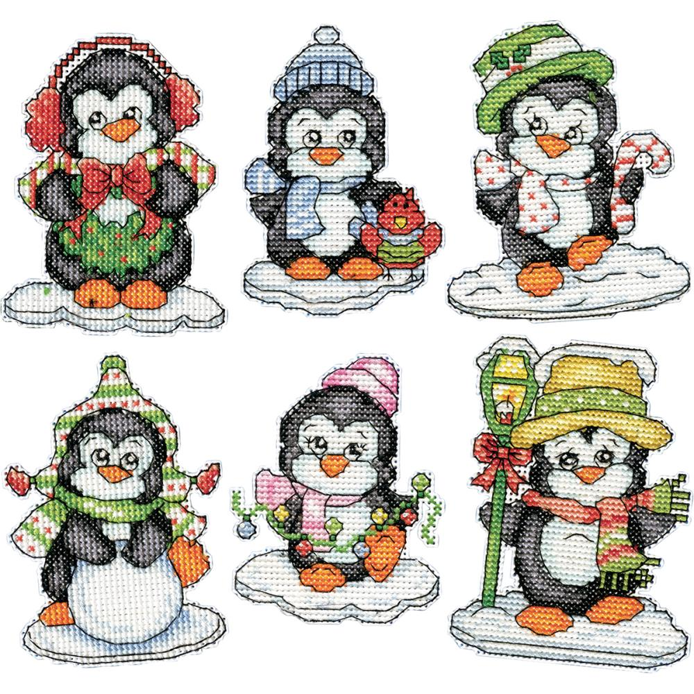 Penguins on Ice 6/Pkg Counted Cross Stitch Ornament Kit
