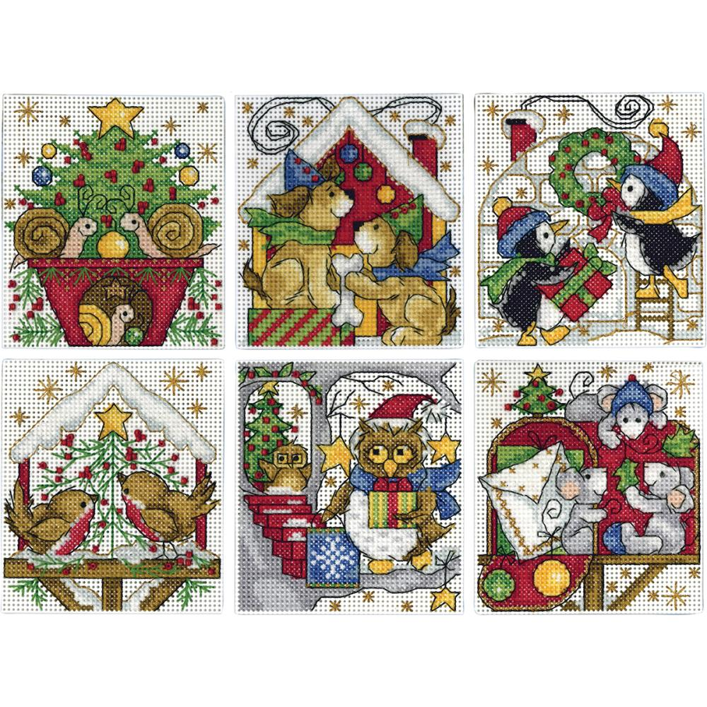 Home for Christmas 6/Pkg Counted Cross Stitch Ornament Kit