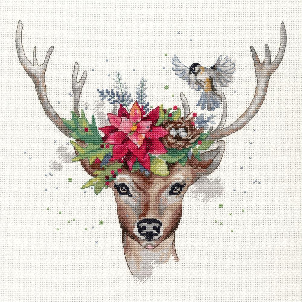 Woodland Deer Counted Cross Stitch Kit - Click Image to Close