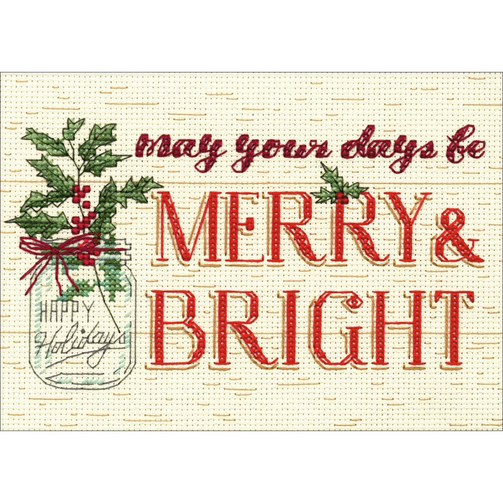 Mini Merry And Bright Counted Cross Stitch Kit