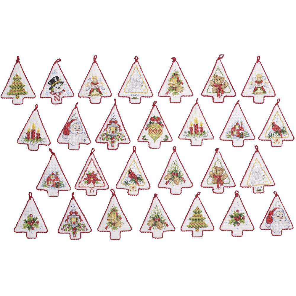 Mini Christmas Tree Ornaments Counted Cross Stitch Kit