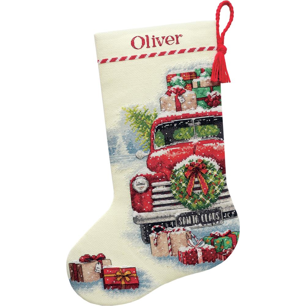Santa's Truck Stocking Counted Cross Stitch Kit