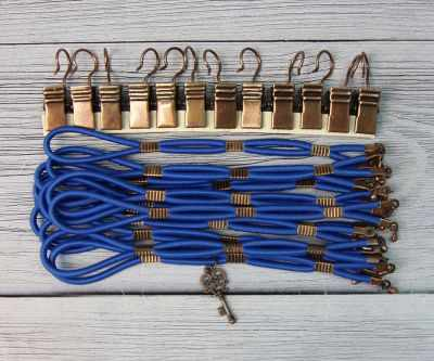 Dark Blue Side Tensioners with Charm - Aged Copper Finish - Click Image to Close