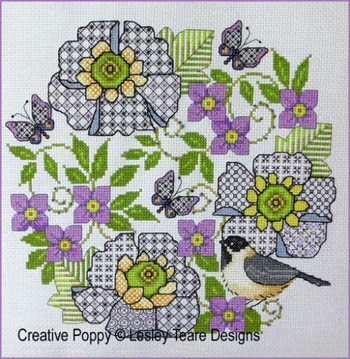 Blackwork Scabious And Chickadee