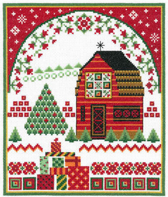 Barn With Holiday Quilts