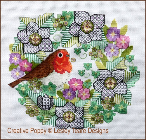 Blackwork Flowers With Robin