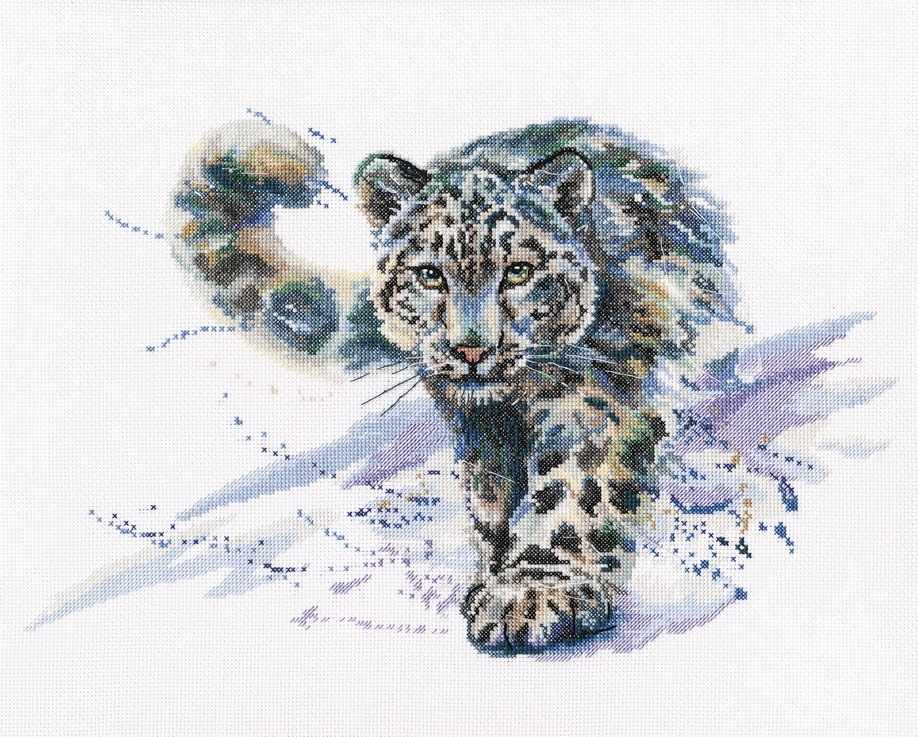 Snow Leopard Counted Cross Stitch Kit