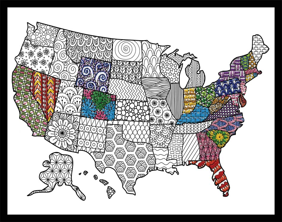 USA Map Zenbroidery Stamped Embroidery Kit