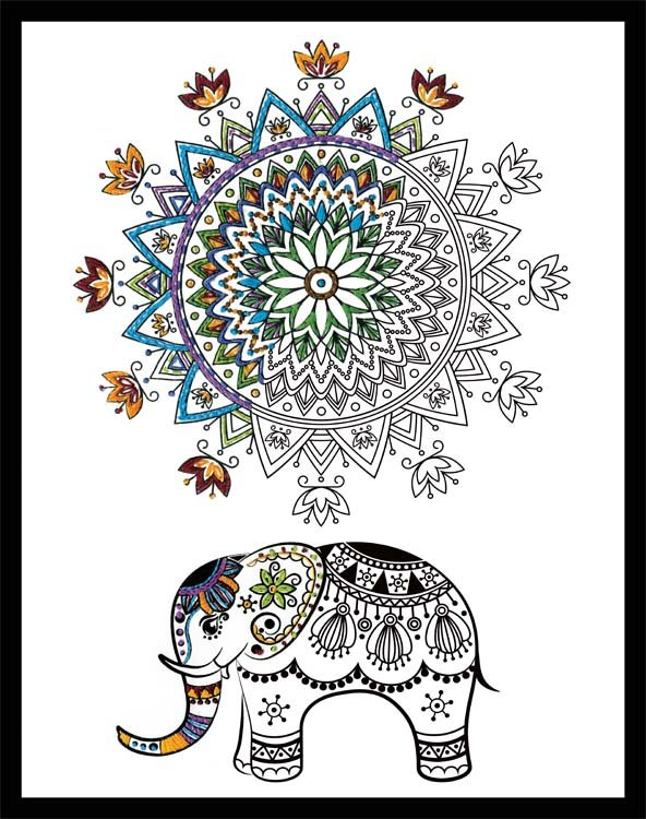 Elephant Mandala Zenbroidery Stamped Embroidery Kit