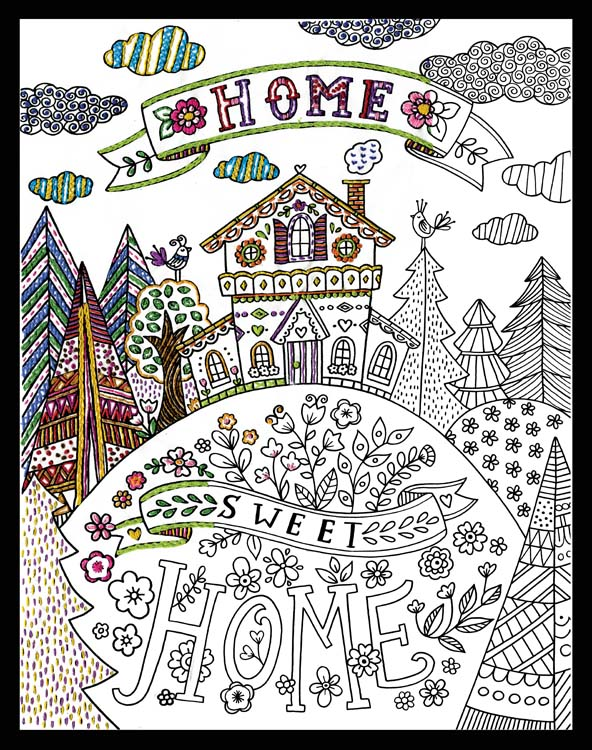 Home Sweet Home Zenbroidery Stamped Embroidery Kit