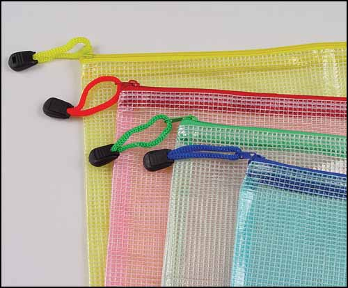 "12""x17"" Mesh Zipper Storage Bag, Assorted Colors"