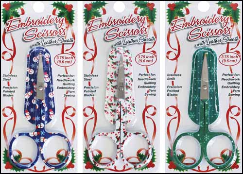 Holiday Embroidery Scissors with Matching Sheath (Assorted)