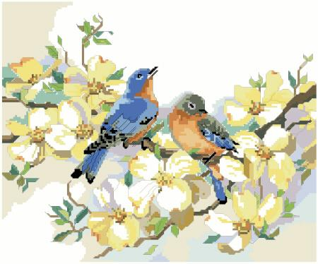 Bluebirds and Dogwood