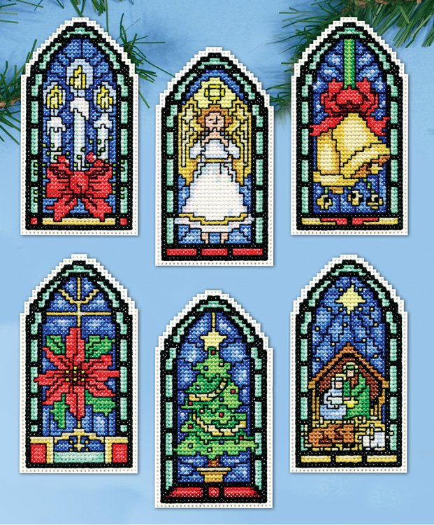 Stained Glass Ornaments Counted Cross Stitch Kit