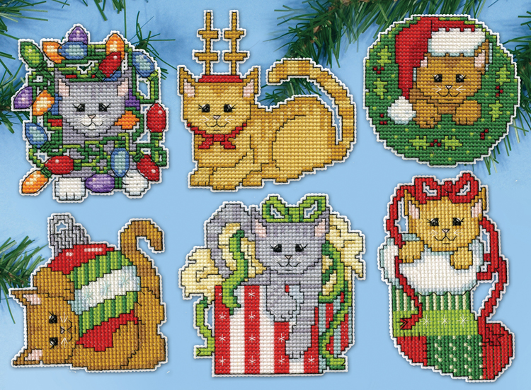 Christmas Kittens Plastic Canvas Ornament Kit
