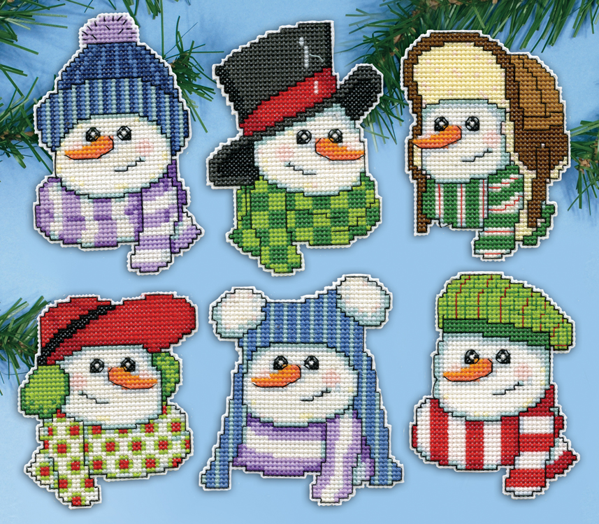 Snowmen In Hats Plastic Canvas Ornament Kit