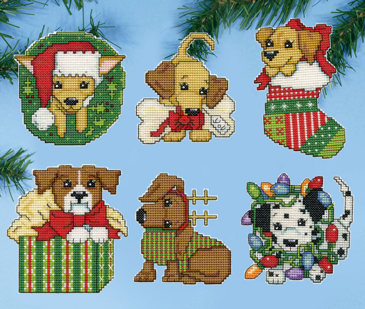 Christmas Pups Plastic Canvas Ornament Kit