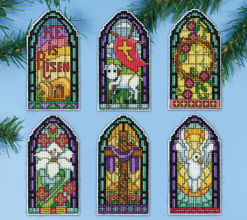 Stained Glass Easter Windows Plastic Canvas Ornament Kit
