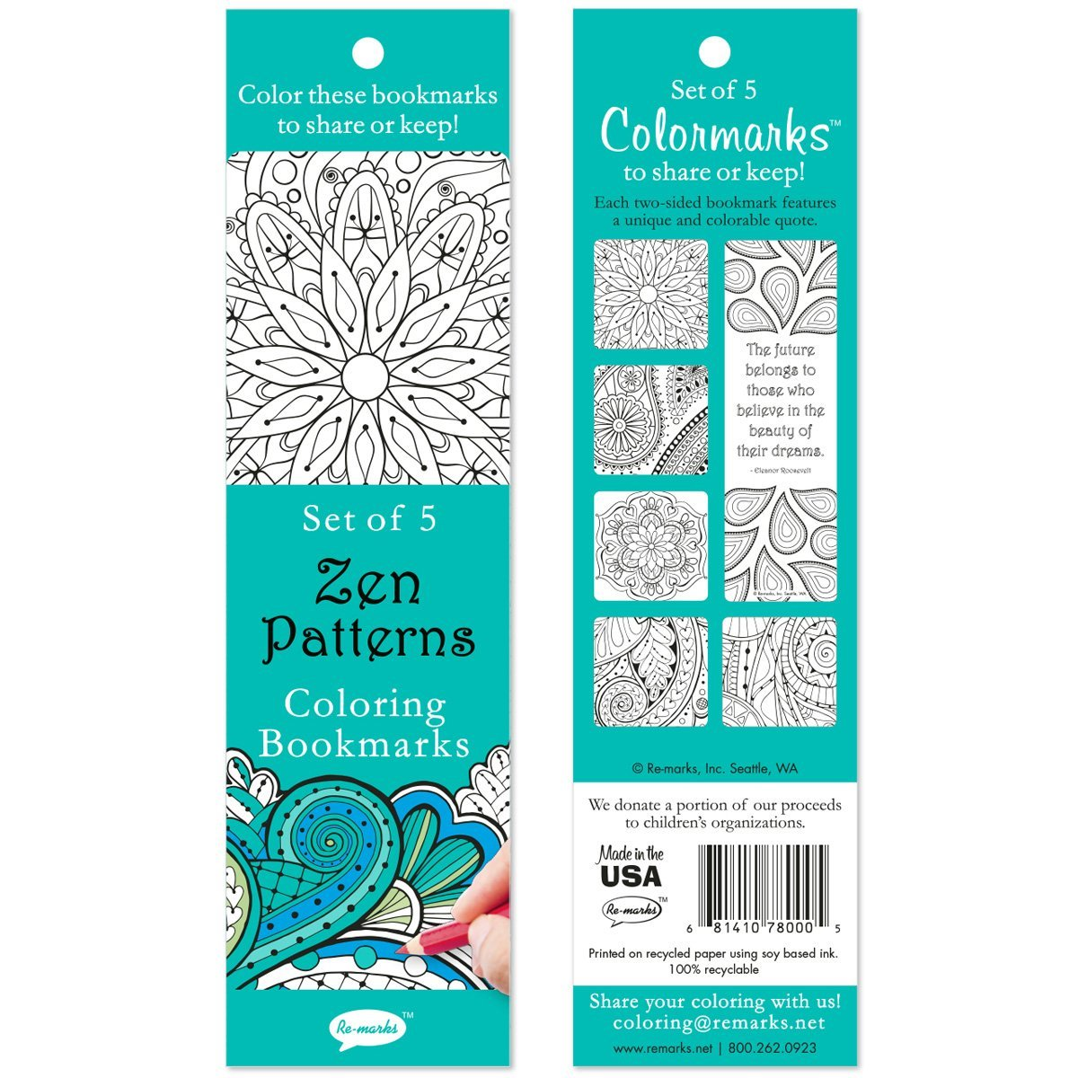 Zen Patterns Coloring Bookmarks