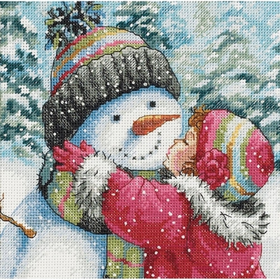Gold Petites A Kiss For Snowman Counted Cross Stitch Kit