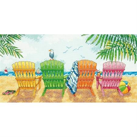 Beach Chairs Counted Cross Stitch Kit - Click Image to Close