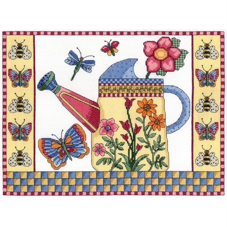Butterfly Watering Can Counted Cross Stitch Kit