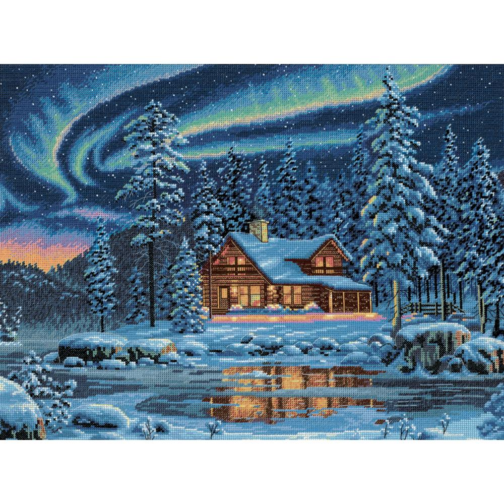 Gold Collection Aurora Cabin Counted Cross Stitch Kit