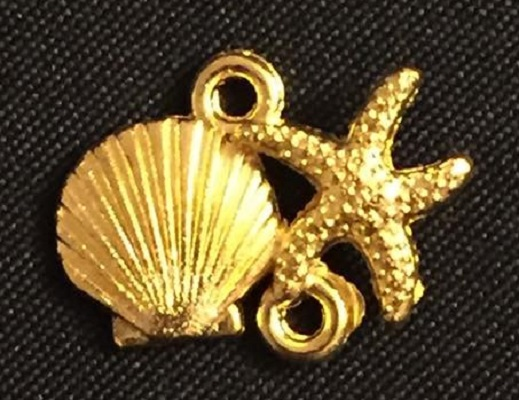 Gold Seashell And Star Charm