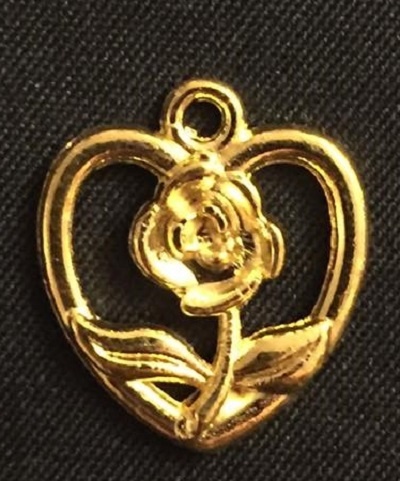 Gold Heart And Rose Charm
